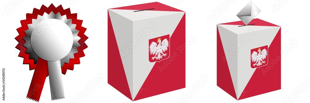 Fototapeta The ballot box for the pre-Roman elections in Poland and cotillion-style decorations for national holidays.