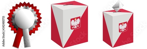 Fototapeta The ballot box for the pre-Roman elections in Poland and cotillion-style decorations for national holidays. obraz