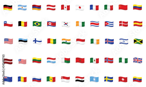 Photo Set of world flags waving