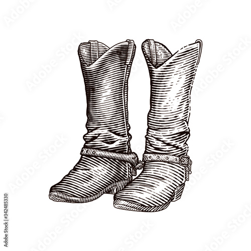 Vászonkép western cowboy boots or leather boots