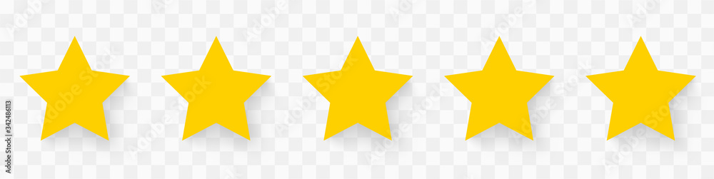 Fototapeta 5 gold stars quality rating icon. Five yellow star product quality rating. Golden star vector icons. Stars in modern simple with shadow - stock vector.