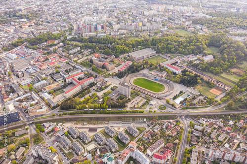 Fototapeta Aerial view on Army Sports Club Stadium (SKA Stadium) in Lviv, Ukraine from drone obraz na płótnie