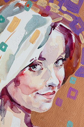 Fototapety, obrazy: watercolor painting, female portrait, handmade