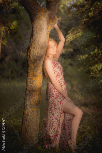 Valokuvatapetti outdoor half-length portrait of model , nature beauty skin of young girl