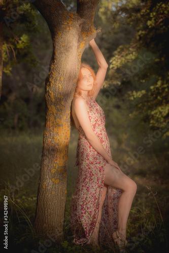 Fototapeta outdoor half-length portrait of model , nature beauty skin of young girl