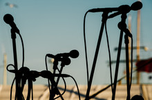 Silhouette Microphones Against...