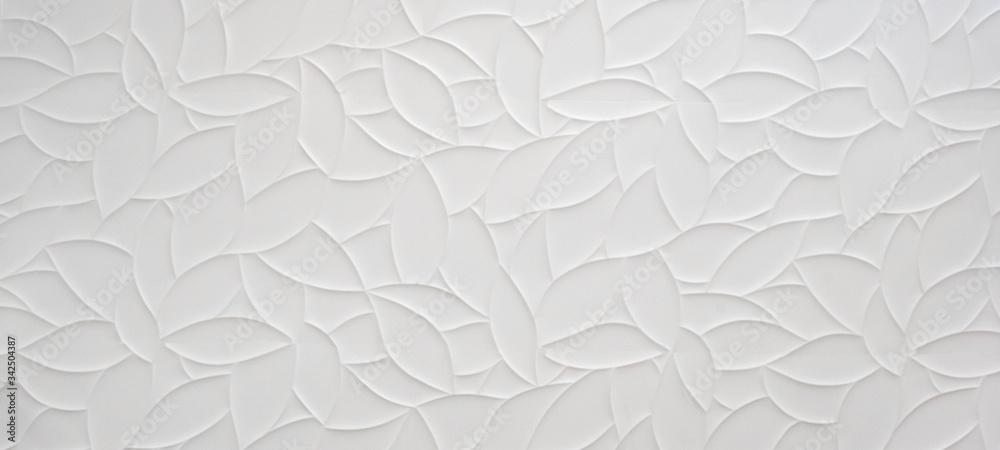 Fototapeta White geometric leaves 3d tiles texture Background banner panorama