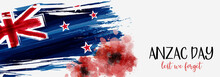 New Zealand Anzac Day Banner With Poppies