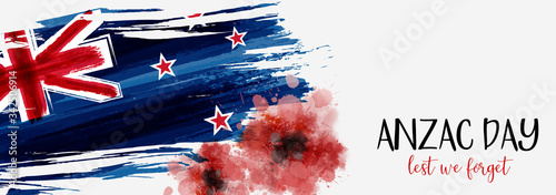 New Zealand Anzac day banner with poppies Wallpaper Mural