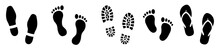 Different Human Footprints Collection. Set Human Footprints . Baby Footprint. Shoes For Children And Adults.Flat Linear Design. Black Silhouettes Isolated.Vector Illustration
