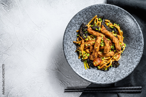Udon stir fry noodles with pork meat and vegetables Canvas Print