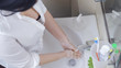 Woman Washs Her Hands Clean With Antibacterial Soap