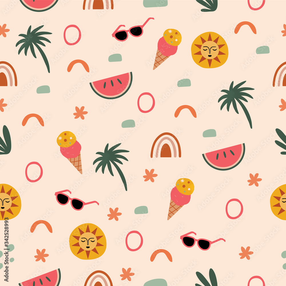 Fototapeta Travel Fun Seamless Pattern with Summer Icons in Vector featuring ice cream, watermelon, sunglasses, and sun illustration.
