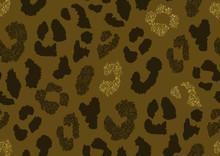 Abstract Animal Skin Leopard Seamless Pattern Design. Jaguar, Leopard, Cheetah, Panther Fur. Black, Brown, Golden Glitter Texture Seamless