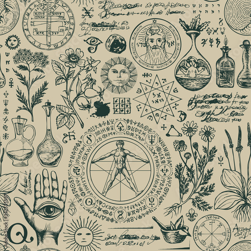 Vector seamless pattern on the theme of alchemy and healing in retro style Wallpaper Mural