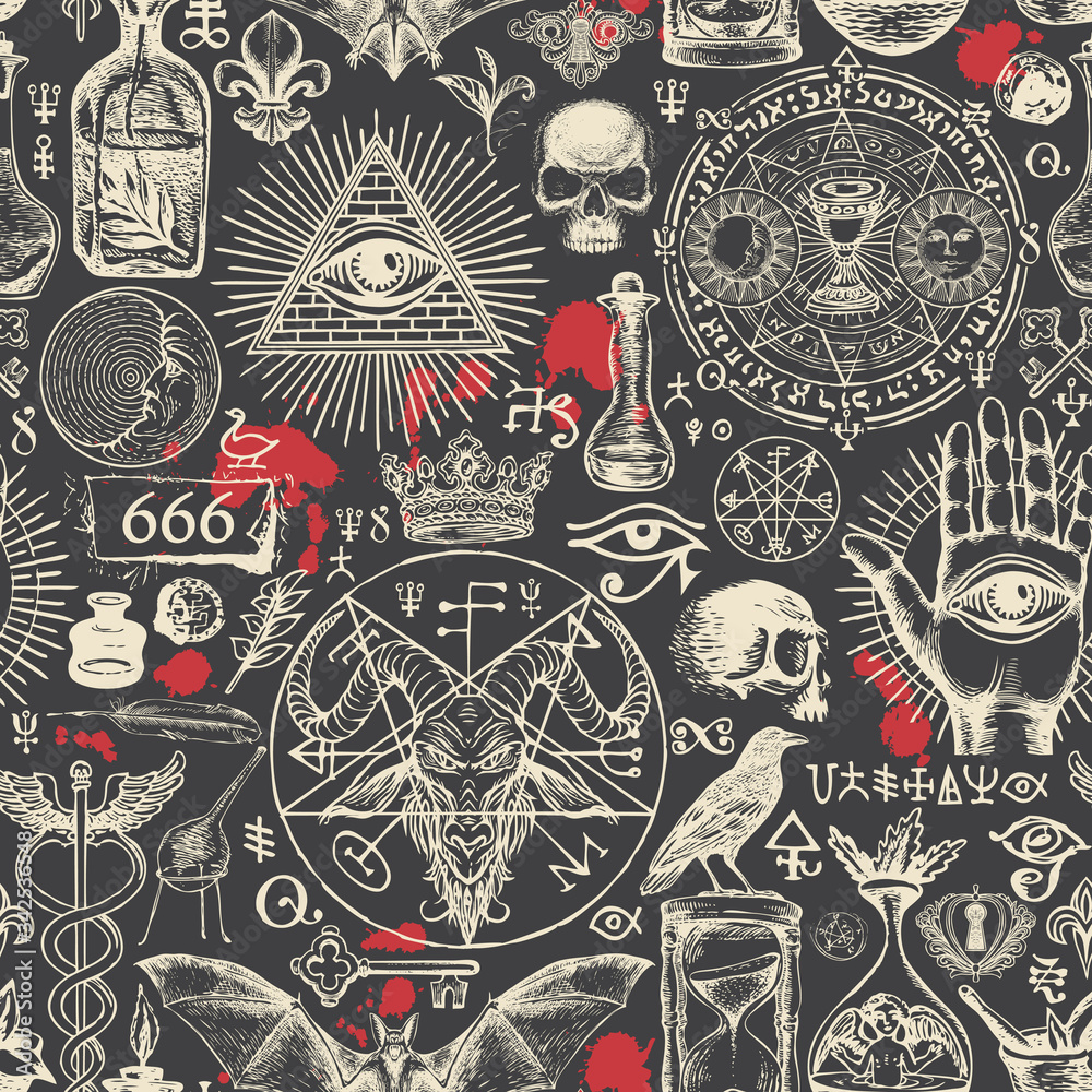 Fototapeta Vector seamless pattern on a theme of satanism, occultism and freemasonry in retro style. Abstract repeating illustration with hand-drawn sketches and blood drops on the black background