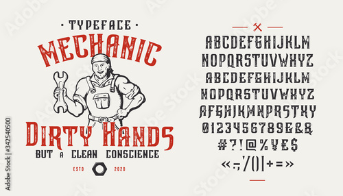 Font Mechanic Dirty Hands. Vintage design. Canvas-taulu