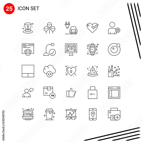 25 Creative Icons Modern Signs and Symbols of man, add on, charge, tick, ok Canvas Print