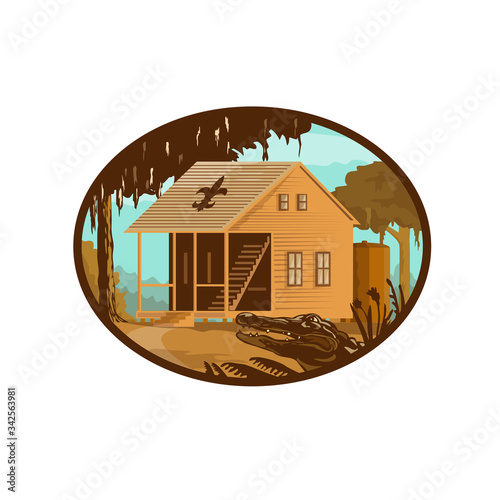 Retro wpa style illustration of a typical Cajun house, a country French architecture found in Louisiana and across the American southeast and alligator or gator set inside oval on isolated background Fototapeta