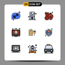 Pictogram Set Of 9 Simple Fill...