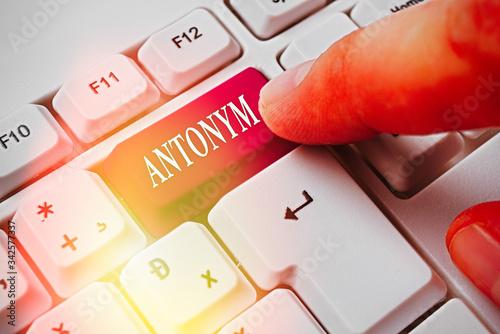 Photo Handwriting text writing Antonym