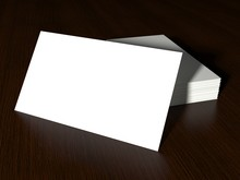 High Angle View Of White Blank Signs On Wooden Table
