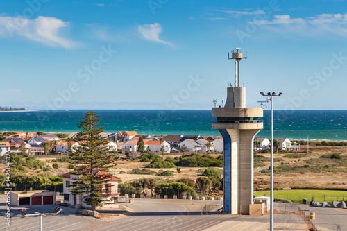 Photo View of the harbour control tower at Outer Harbor Port in Adelaide, Australia