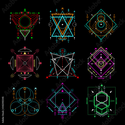 Vector set of Modern sacred geometric symbols on black background. Abstract mystic signs collection. Colorful linear shapes. Can use for your design: tattoo, print, posters, t-shirts. Fototapete