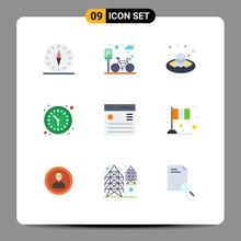 9 Universal Flat Color Signs Symbols Of Communication, Watch, Road, Time, Islamic