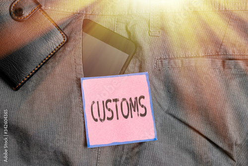 Conceptual hand writing showing Customs Canvas Print