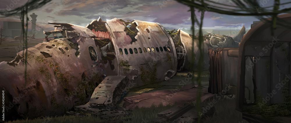 Fototapeta A digital illustration of an abandoned plane wreck with texture brushstroke technique.