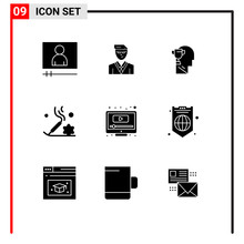 Universal Icon Symbols Group Of 9 Modern Solid Glyphs Of Screen, Computer, Brian, Relaxation, Beauty