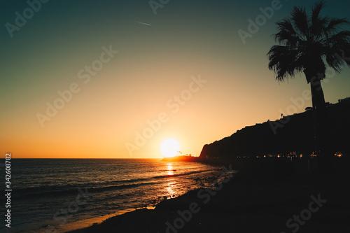 Fotomural 말리부 해변의  타들어가는 석양과 야자수