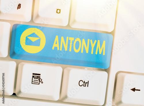 Photo Handwriting text Antonym