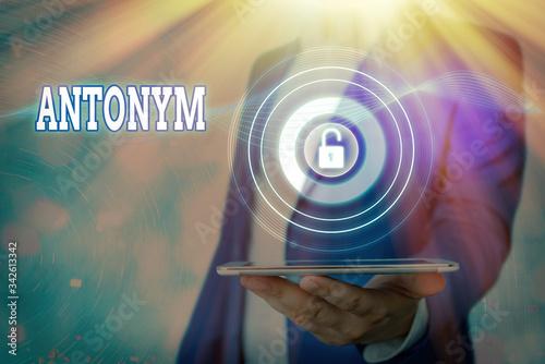 Photo Text sign showing Antonym