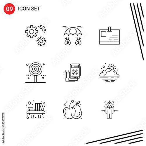 Stock Vector Icon Pack of 9 Line Signs and Symbols for amper, sweet, id card, lo Canvas Print