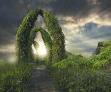 A 3D Rendered Image Of A Landscape With Fantasy Ruins Like Portals  Filled With Ivy And Green Plants Under A Dramatic Sky With God Rays.
