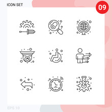 9 Creative Icons Modern Signs And Symbols Of Wheel, Security Camera, Geography, Security, Camera