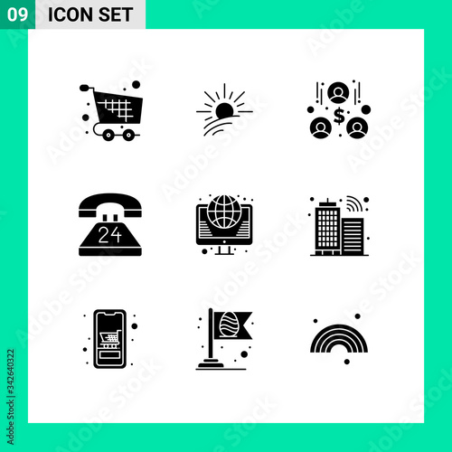 Pictogram Set of 9 Simple Solid Glyphs of globe, contact, spring, communication, Canvas Print