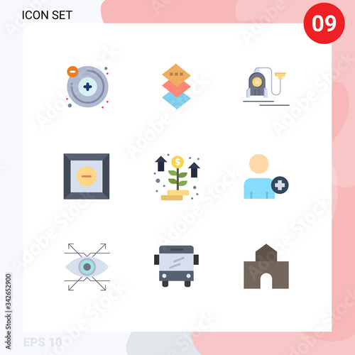 Photo 9 User Interface Flat Color Pack of modern Signs and Symbols of add on, startup,