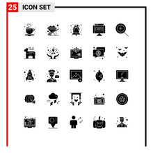 Pack Of 25 Creative Solid Glyphs Of American, Zoom, Christmas, In, Journal