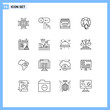 Mobile Interface Outline Set of 16 Pictograms of lifebuoy, help, support, guard, paint