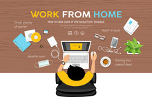 Man Work From Home, Desk Top V...
