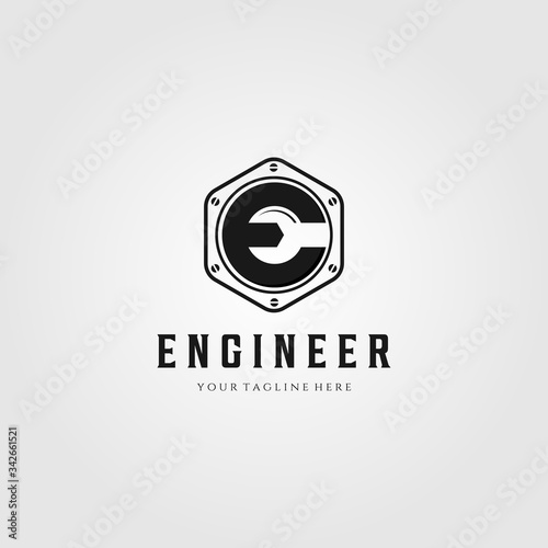 Photo engineer letter e logo vector wrench symbol illustration design