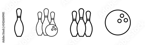 Fotografija Bowling game Pin Icons set. Bowling icon, ball and pin