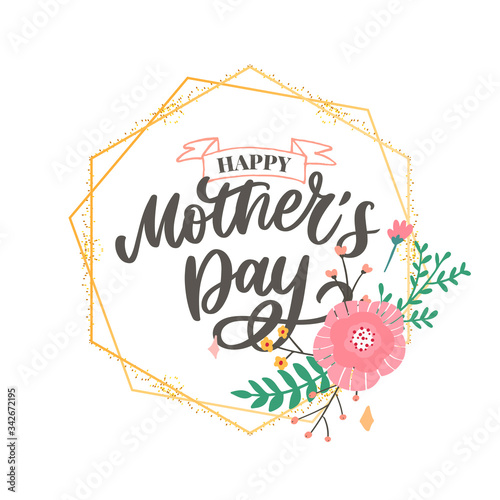 Fototapeta Happy Mothers Day lettering. Handmade calligraphy vector illustration. Mother's day card with flowers obraz