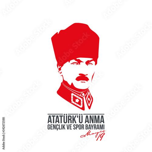 Fotografie, Obraz Turkish national holiday illustration banner 19 mayis Ataturk'u Anma, Genclik ve