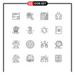 Pack of 16 creative Outlines of hot, train, jar, rail, love