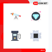 Set Of 4 Vector Flat Icons On Grid For Telescope, Gas Station, View, Diamond, Sign