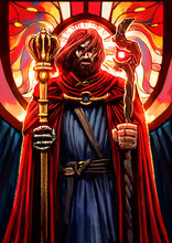 """A Severe Bearded Man In A Red Parade Ground, With A Scar On His Face, Holds Two Staffs In Each Hand, One The Scepter Of The King, The Other The Stick Of The Hermit, Symbolizing The Tarro Card """"two Of"""